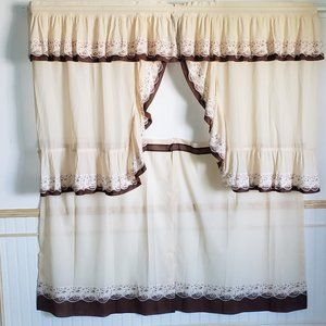 "Vtg 60s Cafe Curtains 58""W Tan Brown 4 Pcs Ruffled"